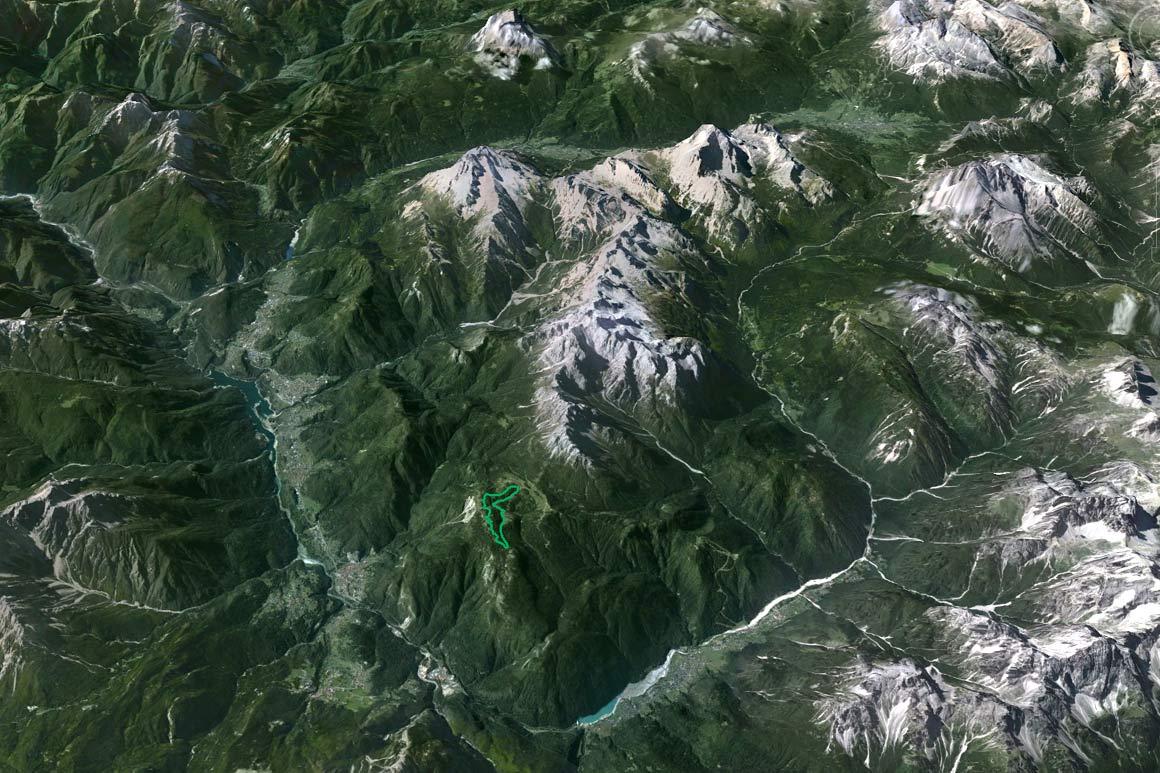 """Il PdM in 3D (da Google Earth): la Val d'Ansiei, la Val del Boite e il tratto centrocadorino della Valle del Piave perimetrano il territorio del mai costituito Parco del Cadore """"Marmarole, Antelao, Sorapiss"""""""