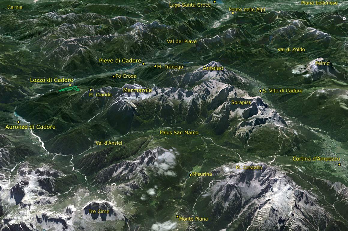 Il PdM in 3D (da Google Earth): da Monte Piana e Misurina giù fino al lago di Santa Croce passando per la Val del Boite