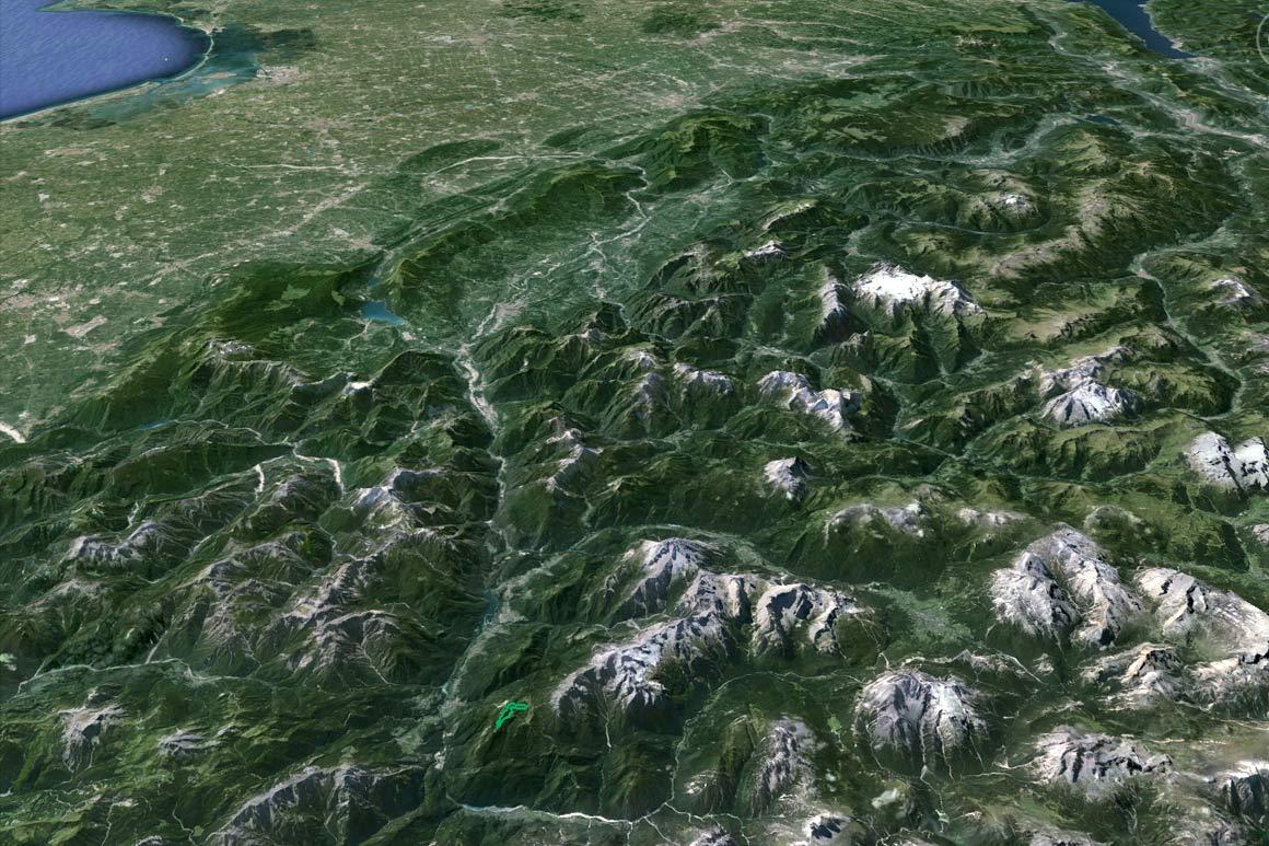 Il PdM in 3D (da Google Earth): dalle Marmarole alla laguna di Venezia