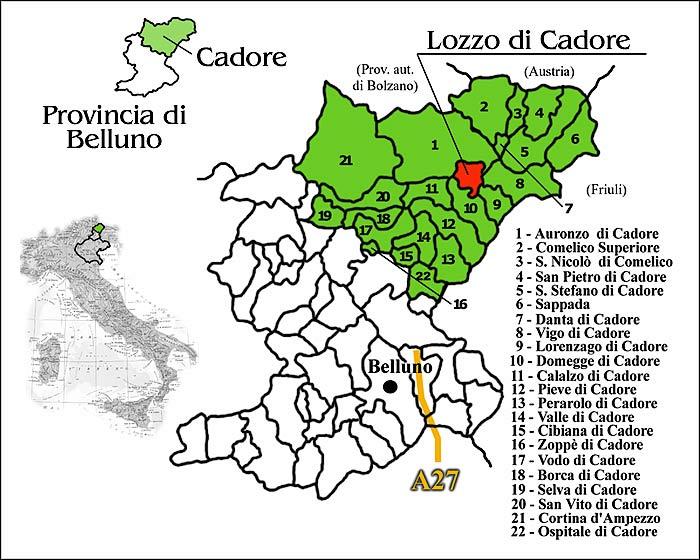 Carta del posizionamento geografico del territorio di Lozzo di Cadore
