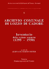 copertina archivio comunale di Lozzo di Cadore