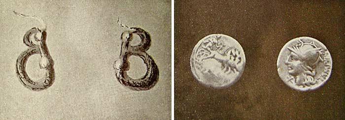 Orecchini dell'epoca paleo veneta e monete romane del 144 a.C.