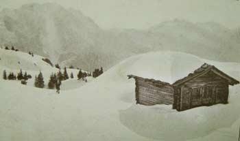 Campi di neve e tabià Cervera (m. 1829). Nello sfondo la Bragagnina, il Crissin (m. 2495), lo Schiavon (m. 2337) e il Gruppo del Tiarfin (Foto Gerardini)