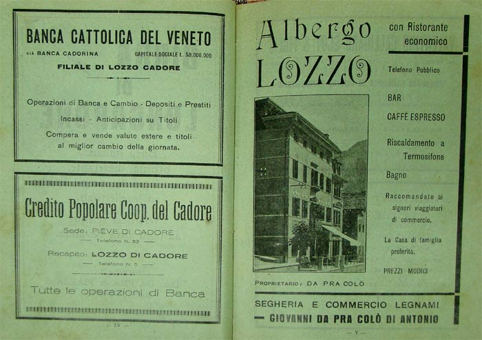 inserzione pubblicitaria alla edizione del 1931 della Storia di Lozzo di Cadore di Ezio Baldovin